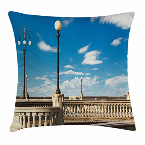 Italian Throw Pillow Cushion Cover by Ambesonne, Mascagni Terrace Street Promenade of Livorno Tuscany Artwork Print, Decorative Square Accent Pillow Case, 28 X 28 Inches, Sky Blue White and - Street Promenade