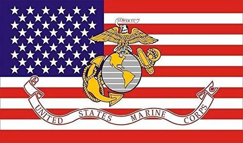 Marine Corps American FLAG, 3'x5' USMC Marines Flag, US, USA (American Marine Flag)