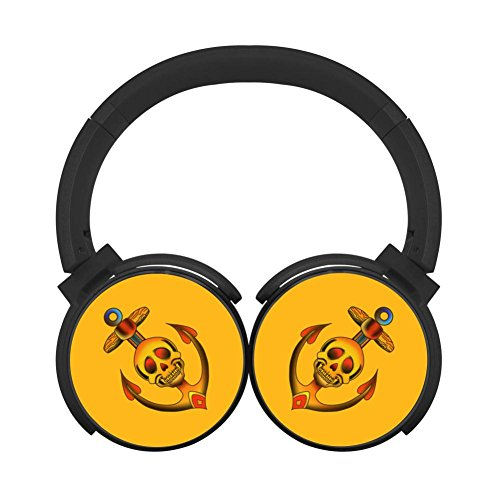 Yellow Skull Anchor Bluetooth Headphone Over-Ear Earphones N
