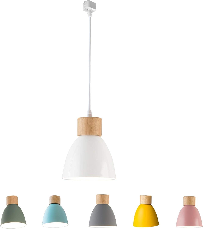 Kiven 1-Light H-Type Track Lights Dimmable Track Mount Pendant Lighting Fixtures w// White Aluminum Shade