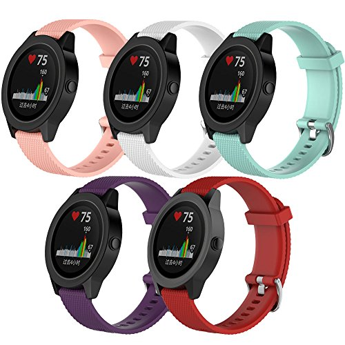 QGHXO Band for Garmin VivoActive 3, Soft Silicone Replacement Watch Band for Garmin VivoActive 3 / Garmin VivoMove/Garmin VivoMove HR (No Tracker, Replacement Bands Only) (5PCS Bands-Girl, Small)