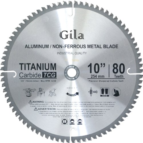 GilaTools 10-inch 80 Teeth TCG Non-Ferrous Metal Cutting Carbide Saw Blade