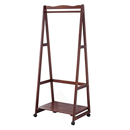 Amazon.com: MING REN Wooden Coat Rack,Mobile Solid Wood ...