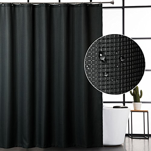 CAROMIO Black Fabric Shower Curtain, Hotel Quality Water Repellent Waffle Weave Textured Fabric Shower Curtains for Bathroom, 72 x 72 inches
