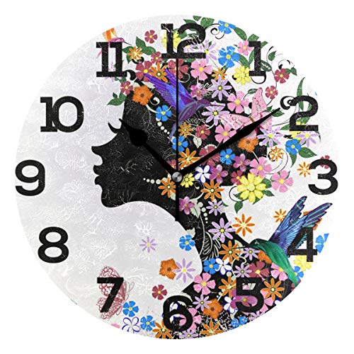 Wall Clock Pink Colorful Kissing Girl Flowers Birds Butterflies Round Acrylic Clock Black Large Numbers Silent Non-Ticking 9.45
