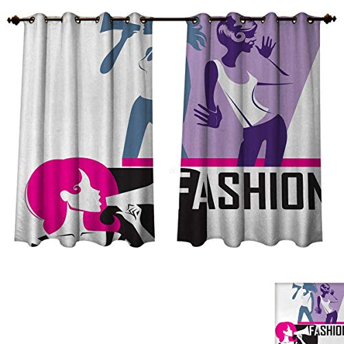- Anzhouqux Teen Girls Blackout Thermal Backed Curtains for Living Room Composition of Girls Yelling into Megaphone Modern Stylish Fashion Themed Art Customized Curtains Purple Black W72 x L45 inch