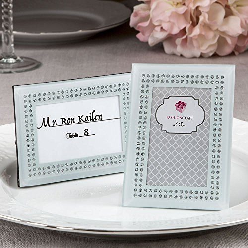 168 White Frosted Glass Picture Frame Placecard Holders by Fashioncraft