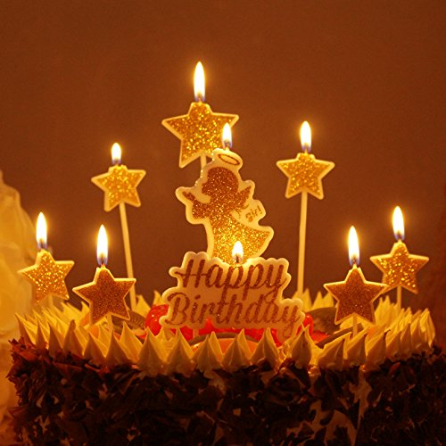Chris.W Gold Happy Birthday Candles, Glitter Angel Star Cake Toppers Baby Girls Party Decorations