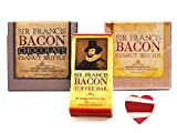 Sir Francis Bacon Sampler Gift Pack (3pc Set + Sticker) - Bacon Peanut Brittle, Bacon Chocolate Brittle & Dark Chocolate Bacon Toffee + Bacon Heart Sticker