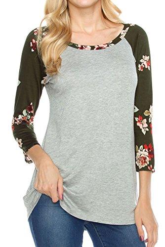 shopglamla-3-4-sleeves-print-detail-raglan-top-floral-hgrey-olive-m