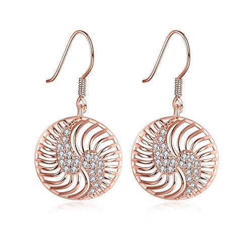 Circle Drop Leverback Earrings (Naivo 18K Gold Plated Bohemian Filigree Teardrop Leverback Earrings - 3 Colors (The Circle of Love Drop Down Earrings))
