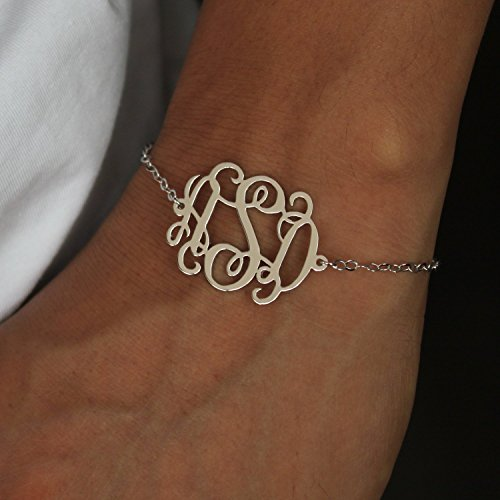 Monogram bracelet sterling silver, Personalized Monogram Bracelet, 18K Gold plated sterling silver monogram bracelet, Bridesmaids Gift,Christmas gift for her ()