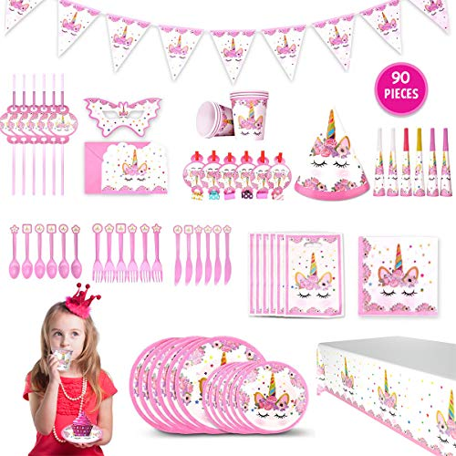 Gifts for 3-12 Year Old Girls JoyJam Unicorn Party Supplies for Girls 16 Varieties Birthday Party Decorations Unicorn Party Favors Tableware Pink Plates Tablecloth Banners Bags Invitations Party Set