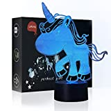 LeKong Unicorn Night Light for Kids 3D Illusion, USB Plug in, Touch Control, Gift for Parent & Adult, Fit for Bedroom Indoor Decorations