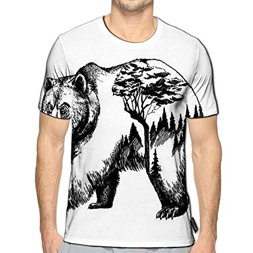 T-Shirt 3D Printed Bear Double Exposure Tattoo Art Canada Mountains Compass Brown Grizzly Silhouette Casual Tees a