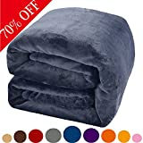 Image of Shilucheng Fleece Soft Warm Fuzzy Plush Lightweight Queen(90-Inch-by-90-Inch) Couch Bed Blanket, Royal Blue