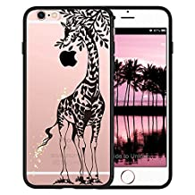 iPhone SE Case, SwiftBox Clear Black Case with Design for iPhone 5 5S SE (Giraffe)