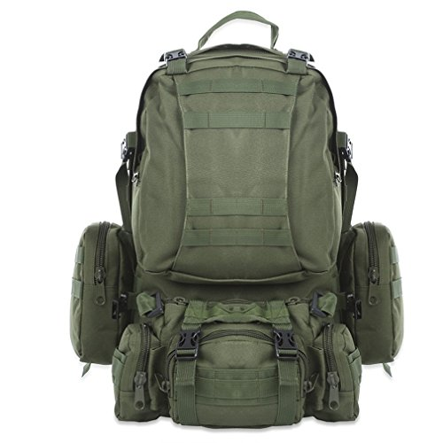 DWEFVS Outdoors 50L Backpack Unisex Rucksack Hiking Camping Camouflage Water Resistant Sport Bags Army Green 50-70L by DWEFVS