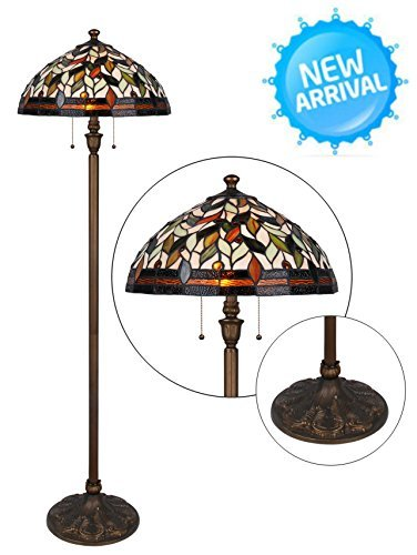 Tiffany Style Floor Lamp 62 Inch Height 2-Light 18 Inch Shade Wilsons Lighting Varese Series Home & Office Decor Collection Model WLF184097