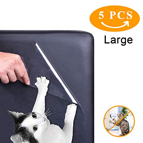 Puncture Pin - Z-H-C 5 Pack (12x17Inch) Furniture Protectors from Cats, Pet Couch Protector, Cat Dog Claw Guards Self-Adhesive Pads + Twist pins, Cat Dog Claw Guards for Sofa, Walls, Doors- Cat Scratch Deterrent