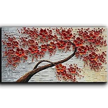 Yasheng Art Peinte à La Main Art Contemporain Blanc Fleurs