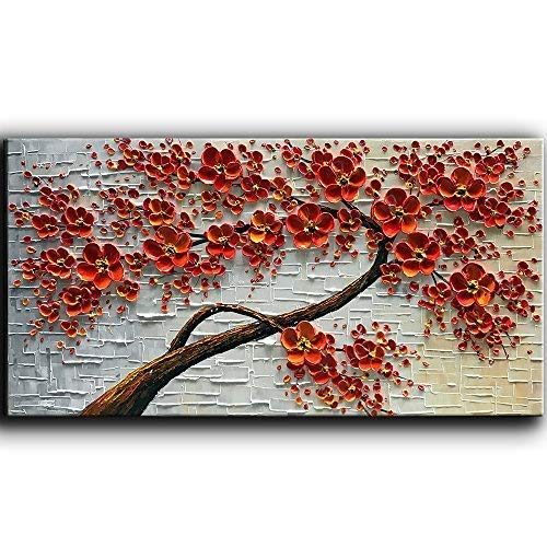 - YaSheng Art - Hand-Painted Oil Painting On Canvas Texture Palette Knife Red Flowers Paintings Modern Home Decor Wall Art Painting Colorful 3D Flowers Tree Paintings Ready to Hang 24x48inch