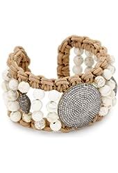 Jordan Alexander White Turquoise-Color with Diamond Disc Cuff Bracelet