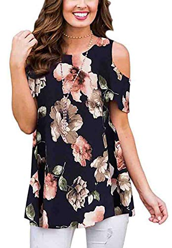 - ANDUUNI Womens Floral Print Cold Shoulder Swing Tunic Tops Casual Loose Short Sleeve Blouse Shirts, Navy Flower, XX-Large