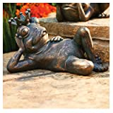 Allen Group Intl AG59041 Lawn Statue, Frog With Crown, Copper Fiberglass – Quantity 4