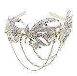 BABEYOND 1920s Flapper Headband Crystal Great Gatsby Headpiece Vintage 1920s Flapper Gatsby Accessories Art Deco Hair Comb