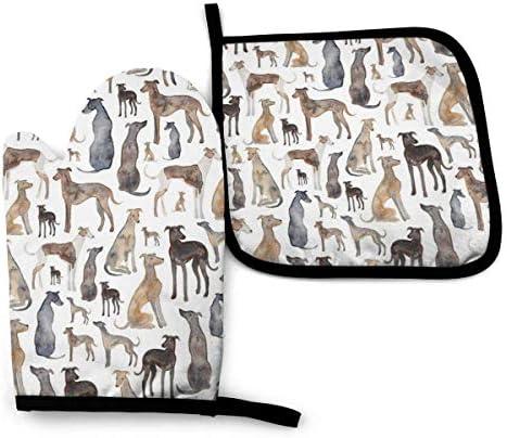 ZHSL Greyhounds Wippets en Lurcher Honden Oven Mitt Pot Houders Set Hittebestendig en Wasbaar om te koken bakken grillen