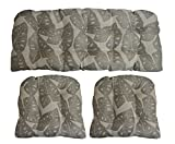Sunbrella Radiant Silver Large 3 Piece Wicker Cushion Set - Indoor / Outdoor Wicker Loveseat Settee & 2 Matching Chair Cushions - Frosty Grey / Taupe Tropical Leaf Design
