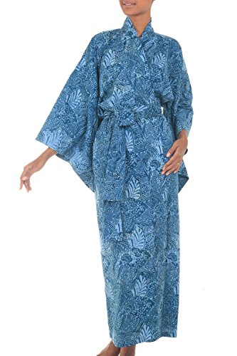 NOVICA Blue 100% Cotton Batik Robe, Blue
