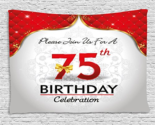 75th Birthday Decorations Tapestry by Ambesonne, Royal