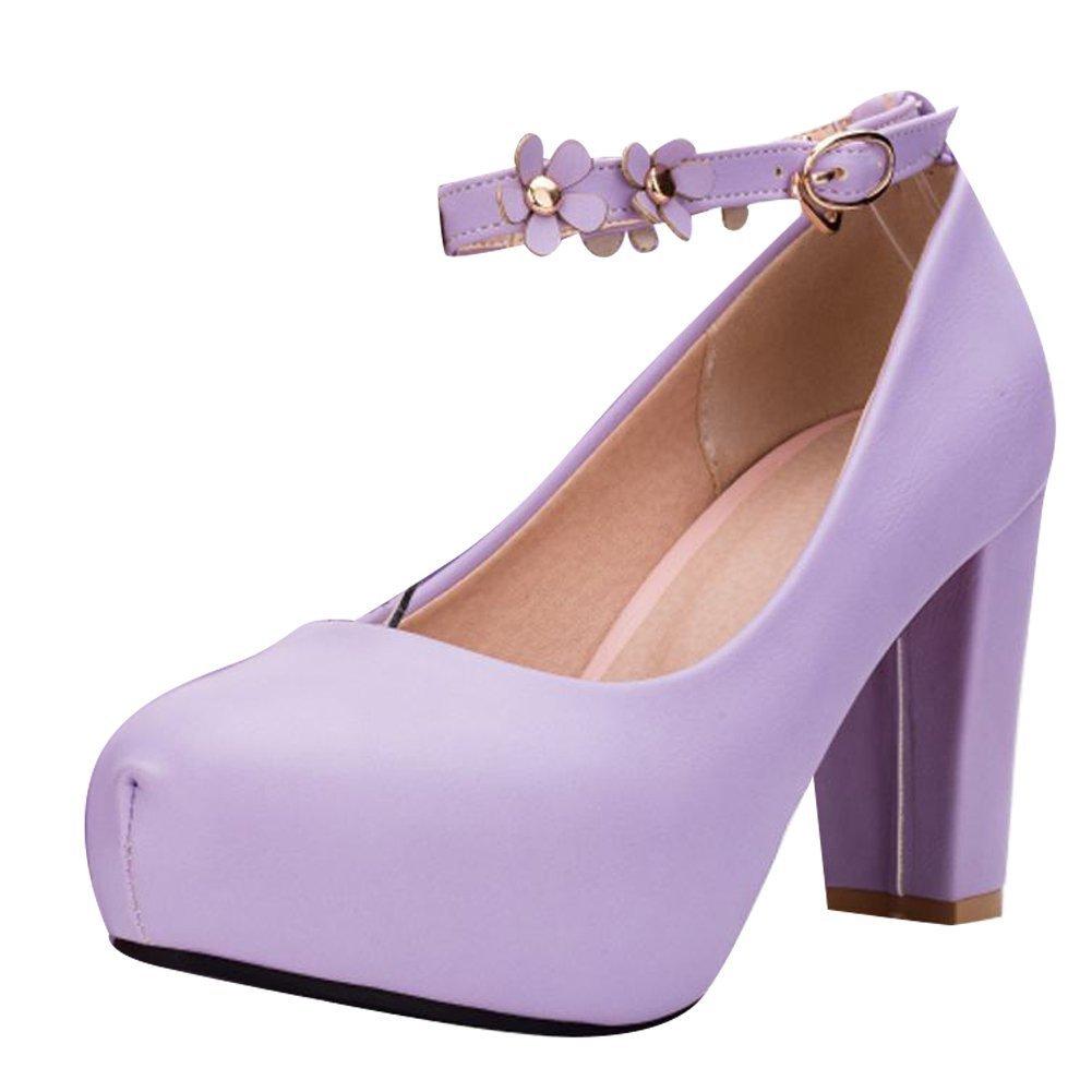 YE Damen Ankle Strap Pumps Blockabsatz Plateau High Heels Geschlossen mit Riemchen und Blumen Elegant Schuhe  34 EU|Lila