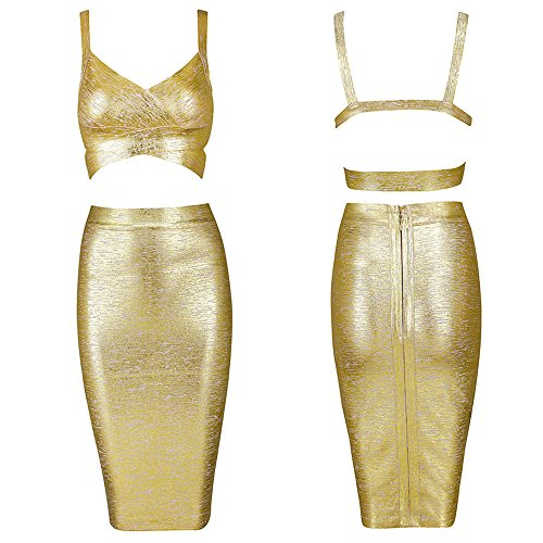 Color Piece 2 Women Dress Gold Pure Bandage Length Knee Set HLBandage TFqXWcAngT