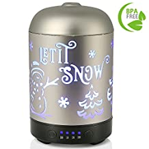 COOSA 100ml Essential Oil Diffuser Metal Christmas Tree Snowman Pattern with 4 Time Setting and 7 Beautiful Color Changing LED Lights Cool Mist Humidifier for Home Office Bedroom Living Room (Silver)