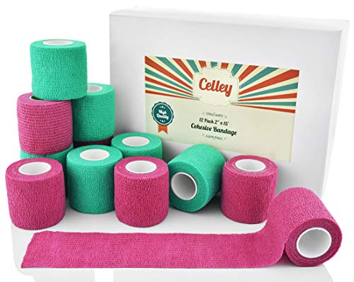 Celley 12 Pack Bandage Wrap | Self Adherent Cohesive Vet Wrap Bandage for Dogs, Cats, Sports, Medical First Aid | Pink and Green 2 Inch Variety Pack (2x15 Roll Gauze)