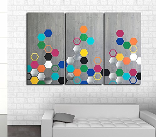 Amazon Com 3 Panel Mod Honeycomb By Modwoodart Wood Wall Art