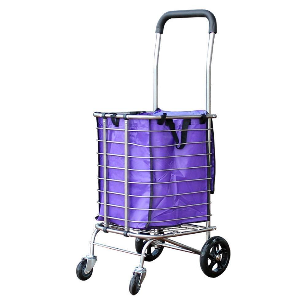 家庭用ステンレス鋼折りたたみ式ショッピングカート、昔ながらのポータブル食料品ショッピングカート、トロリートロリー(2輪/ 4輪)A +(カラー:B) B07SM77PML B