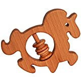 Unicorn kid teether 1OO% beech wood naturally dried + organic flax oil. Made EU teething ring for babies, kids, new born