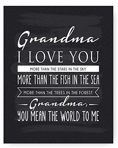 Grandma Gift, Grandma Quote Sign, Grandma Chalkboard Print, Unique Gift for Grandma, Grandma Gift from Granddaughter, Grandma Gift from Grandson - Ready to Hang, Hanger Included 8x10