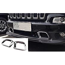 Nicebee 2pcs Front Bumper Vent Trims Cover ABS Chromed For Jeep Cherokee 2014-2016