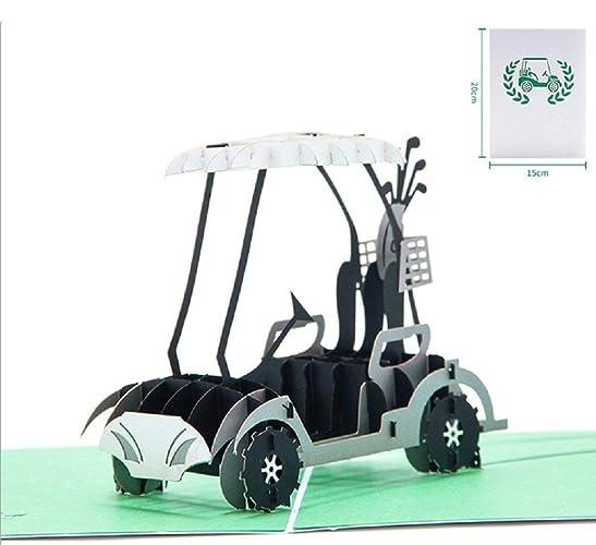 BC Worldwide Ltd Tarjeta 3D emergente hecha a mano, carrito de golf con carrito verde