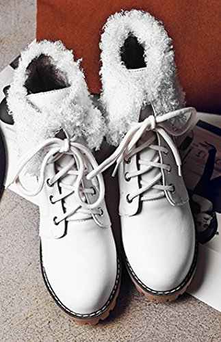 Lacets Fourrure Aisun Bottines Femme Chunky Blanc Talon Mode wXTXgq