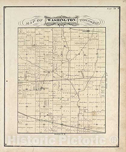 Historic 1876 Map | Illustrated Historical Atlas of Porter County, Indiana. | Map of Washington Township | Hardesty's Atlas of Porter Co, Indiana 44in x 53in