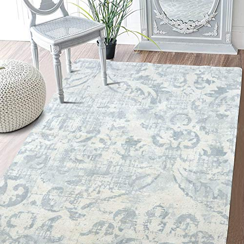 Lahome Damask Area Rug – 3 X 5 Faux Wool Non-Slip Area Rug Accent Distressed Throw Rugs Floor Carpet for Living Room Bedrooms Laundry Room Decor 3 x 5 , Gray