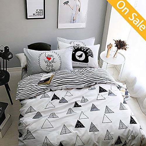 Newest ArrivalDuvet Cover for Kids 3 Piece Boys Girls Duvet Cover Twin Cotton Geometric Comforter Cover Set White Black Reversible Stripes Bed Cover Set Soft with Ties Zipper,NO Comforter NO Sheet