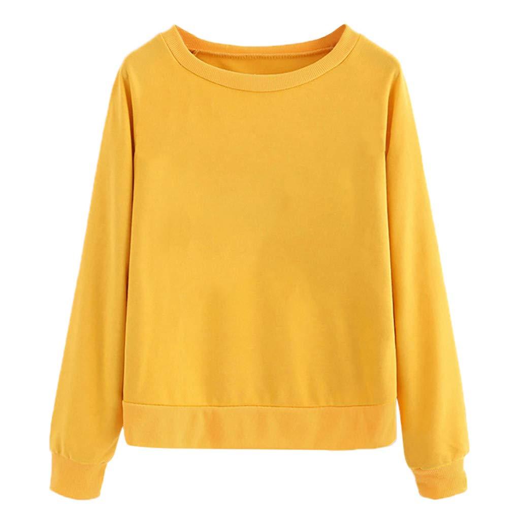 Yoyorule Autumn Pullover Top Women Printing Round Neck Long Sleeve Casual Blouse Sweatshirt Yellow