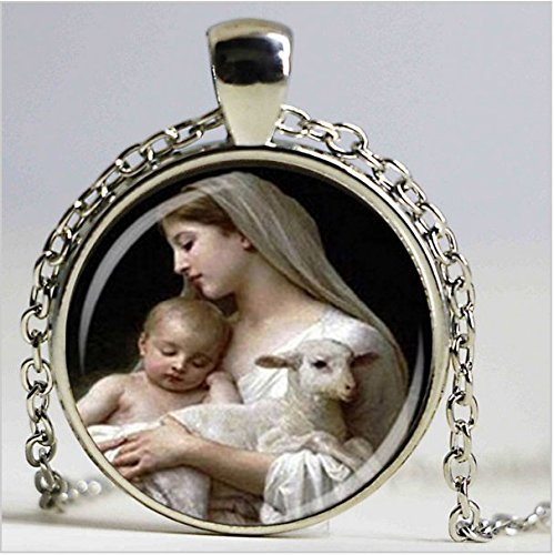 nativity pendant, virgin mary jesus and lamb glass necklace, religious necklace, fashion jewelry